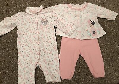 Two Pairs Of Baby Girl Disney Minnie Mouse Pyjamas 6-9 Months