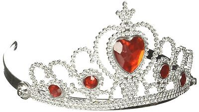 Queen of Hearts Silver Red Crown Tiara Ruby Princess Headpiece Costume Accessory