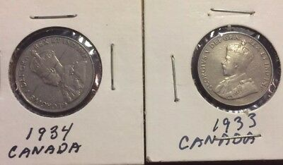 1933 and 1934 Canda 5 Cents