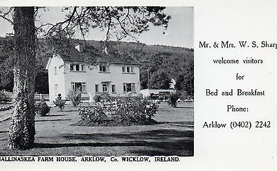 Ballinaskea Farm House Arklow Co Wicklow Ireland Advertisement Postcard Unposted