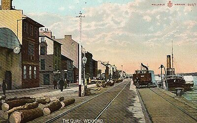 THE QUAY WEXFORD IRELAND VINTAGE IRISH POSTCARD RELIABLE SERIES No. 946/7