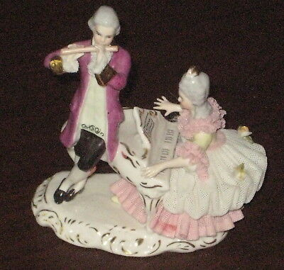 Stunning Antique German DRESDEN PORCELAIN Musical DUET Figurine Handpainted Gold