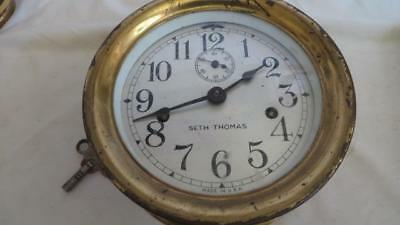 Vintage Seth Thomas naval, maritime, brass ships clock working