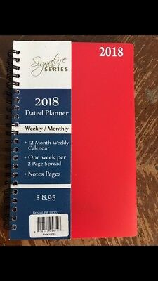 Red 2018 Signature Dated Day Planner 5X8 Weekly Monthly Calendar Notes Pages