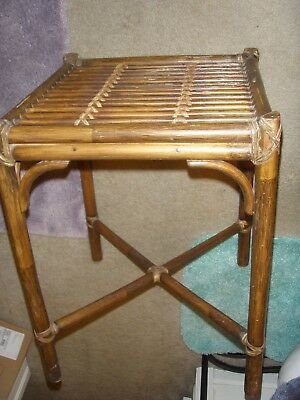 Vintage McGuire Mid Century Rattan Bamboo Glass Top END TABLE Nightstand