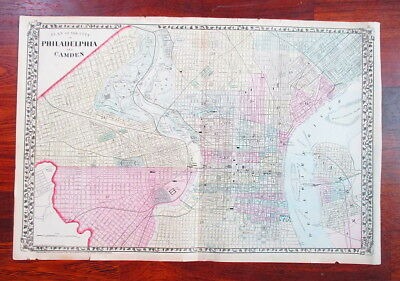 1874  Hand-Colored Map of Philadelphia and Camden