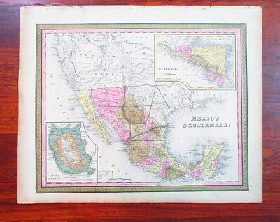 Ca 1850's  Hand-Colored Map of Texas, Mexico, Guatemala