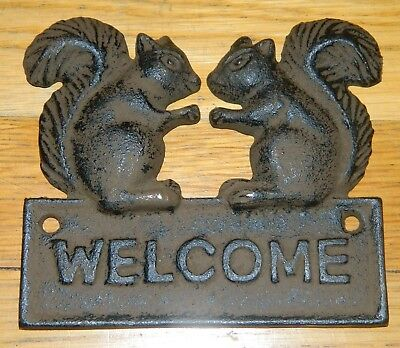 Cast Iron Rustic Squirrel Welcome Sign Plaque