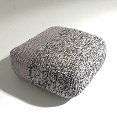 Handmade Knitted Floor Cushion Mottled Grey & Ashes Roses Ottoman Pouf Footstool