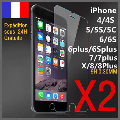 lot/2 vitre protection verre trempé film protecteur écran iPhone 7/8Plus/6S/5S/X