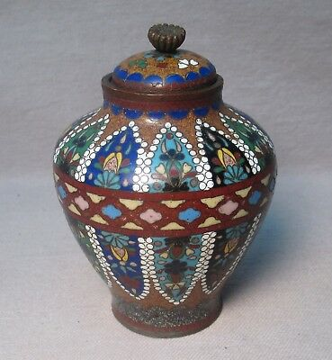 Japanese Meiji Cloisonne Jar & Lid Chrysanthemum Finial Geometric Beaded Floral