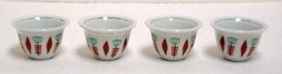 Oriental Asian Tea Sake Cups Red Green Contemporary Floral Design Set of 4