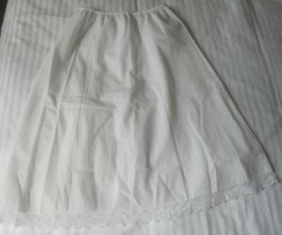 Vintage 1980's Formfit Confections White Poly Cotton & Lace Half Slip 12 Petite