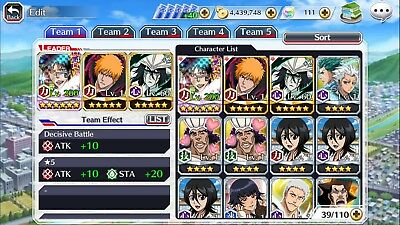Bleach Brave Souls Global account 5 stars lots of tickets