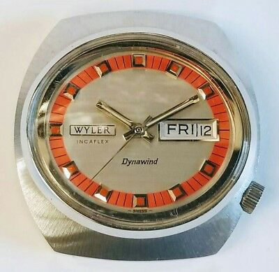 new old stock 1970's vintage wyler dynawind incaflex large men wrist watch case