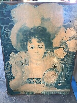 "COCA COLA ANTIQUE VICTORIAN LADY WOODEN  AD SIGN 29""x22"""
