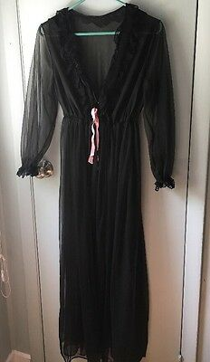 Vintage  SHEER BLACK NYLON CHIFFON with LACE LINGERIE ROBE