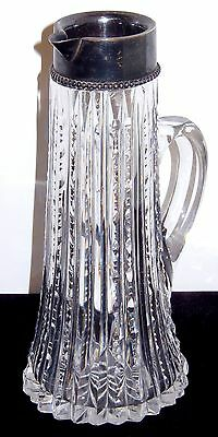 American Brilliant Cut Glass Pitcher Creamer Antique Wilcox Sterling Silver