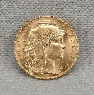 France 1910 Gold 20 Francs Rooster Coin! Brilliant Uncirculated! No Reserve!