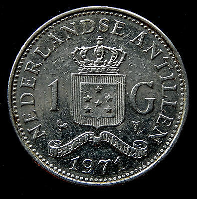 1971 Netherlands Antilles 1 Gulden Coin KM#12   SB3408
