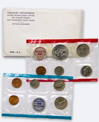 1969 D & P U.s. Mint Set In Original Wrappers And Envelope. 40% Silver Kennedy