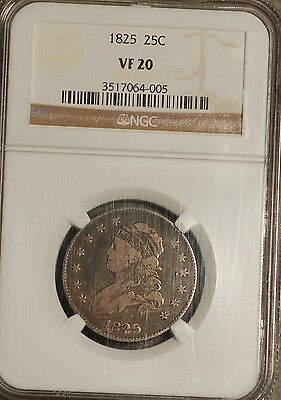 1825  Bust Quarter graded by NGC VF 20