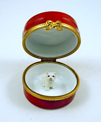 New French Limoges Box Westie Dog Puppy In Hat Box W Cherry Apple Blossom