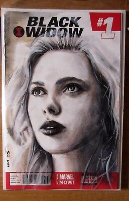 Black Widow Avengers Scarlett Johansson Marvel Blank Sketch Cover Original Art
