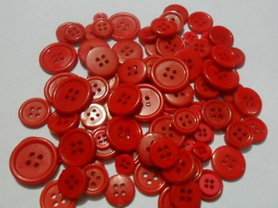 bulk Buttons 100 RED buttons Mix Craft sewing  single colour Christmas 9~23mm