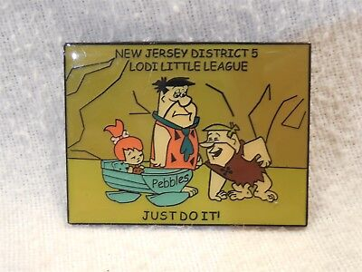 Flintstones NJ District 5 Lodi Little League Pin-back Button Fred Barney Pebbles