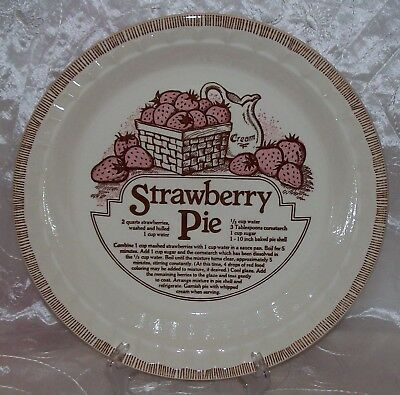 Vtg Royal China COUNTRY HARVEST-Deep Dish STRAWBERRY Pie Plate/ Baker Recipe EUC