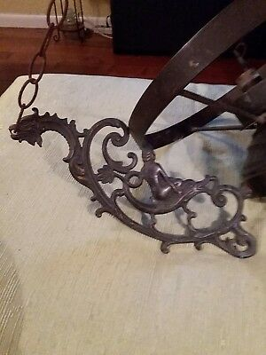 Antique Brass Chandelier Gothic Dragon Lady~ 3 Arm Chandelier...No Shade...As Is