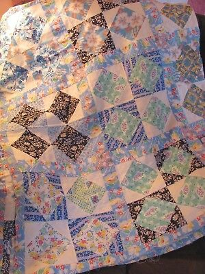 """MINT"" SQUARE in a SQUARE QUILT TOP HAND-Pc'd 92""x76"" FEEDSACKS GALORE c1930-45"