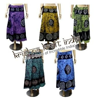 25 Indian Cotton Batik Printed USA Boho Long Wrap Around Skirts Wholesale Lot