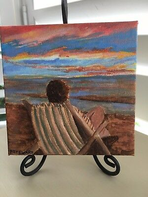 Beach Holiday Acrylic Painting Original Signed Artist Beach Still Life on Canvas