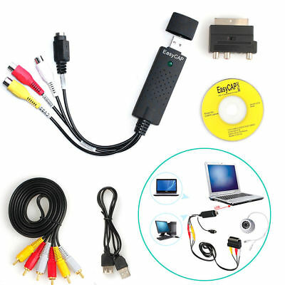 USB 2.0 VHS To DVD Audio Video Converter Adapter Capture RCA Cable Win10 Us Send