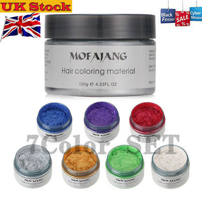 UK Unisex DIY Hair Color Wax Mud Dye Cream Temporary Modeling 7 Colours