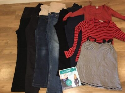 Maternity Clothing 10 Items , Jeans, Leggings, Tops. Jeans West Belly Belt