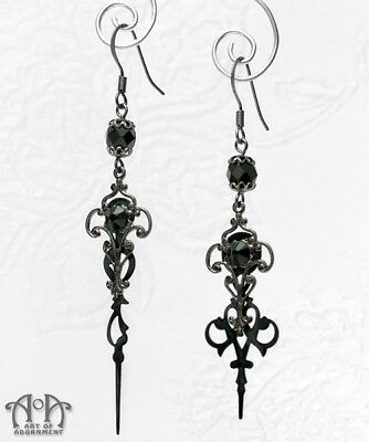 Steampunk Gothic CLOCK HAND EARRINGS Black Gunmetal Filigree Hands Crystal E39