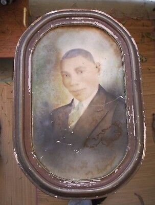 *Antique Portrait of a Black African American Man in Frame Painted Photo
