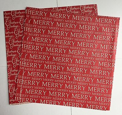 2 Sheets Vintage Christmas Gift Wrapping Paper  Merry Christmas