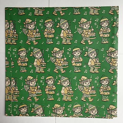 2 Sheets Vintage Christmas Gift Wrapping Paper  Drummer Boy