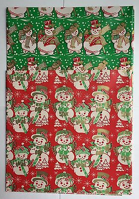 2 Sheets Vintage Christmas Gift Wrapping Paper  Snowmen and Women