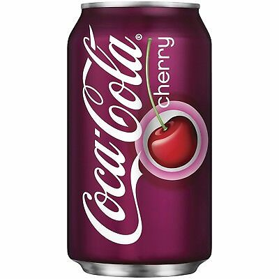 New Sealed 6 Pack Cherry Coca-Cola 12 Oz. Cans Free Shipping