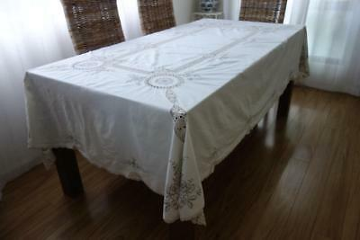 Large Ivory & Beige Embroidery & Crochet Vintage Banquet Tablecloth 260x165 F