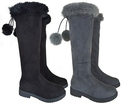 Kids Children New Winter Over The Knee Boot Pom Pom Faux Fur School Boots Size