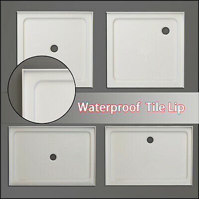 Square Durable Acrylic Fiberglass Shower Base Tile Over Tray DIY Various Sizes