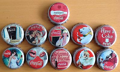 *s* Lot Of 11 Coca-Cola Bottle Caps From Colombia --Used--