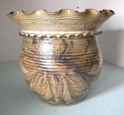 Large Welsh Pottery Planter/Vase. Gwili Pottery Carmarthen. Pru Green.
