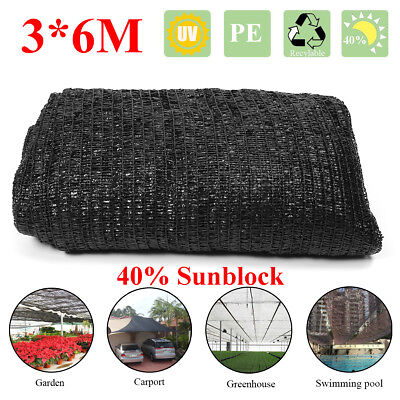 6x3m Black Sunblock Shade Cloth Plant Cover Shading Rate 40% Outdoor Sunscreen